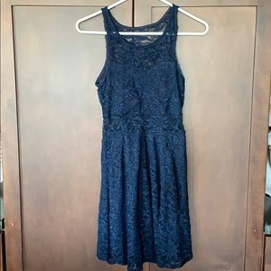 Light sparkle navy homecoming dress, small